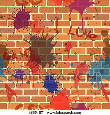 Clipart Of Seamless Dirty Brick Wall Graffiti Paint K8654671