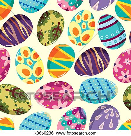 Clip Art Of Seamless Easter Egg Pattern K8650236 Search Clipart