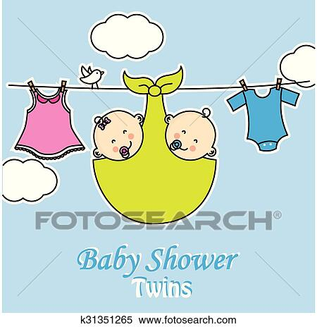 Clipart Of Twins Baby Shower K31351265 Search Clip Art