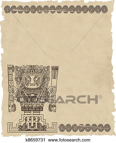 Clipart Of Vector Mayan And Inca Tribal Symbols On Old Paper
