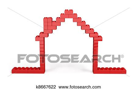 3d house of Plastic blocks Drawing