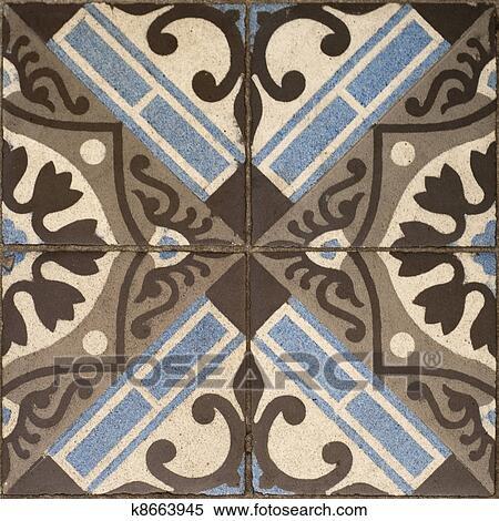 Stock Bild Alt Fliesenmuster Seamless Antiker Muster Blau