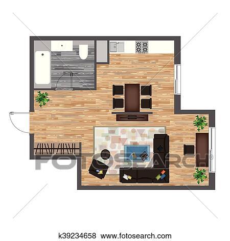 Architectural Color Floor Plan. Studio Apartment Vector ...