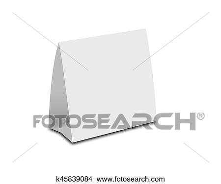 drawings of blank white table tent on white paper vertical cards