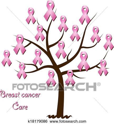 clip art of breast cancer awareness tree k18179086 search clipart rh fotosearch com breast cancer clip art free breast cancer clip art ribbon