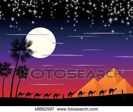 Camels In The Desert Clipart
