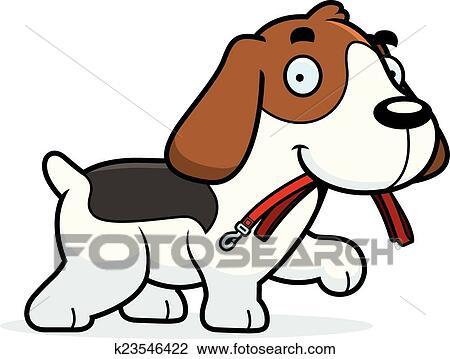 clipart of cartoon beagle leash k23546422 search clip art rh fotosearch com clipart beagle dog beagle clip art black and white