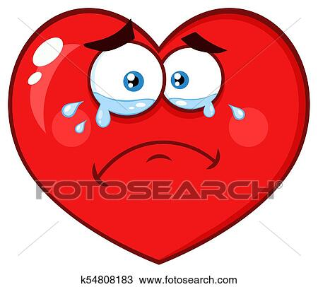 Clipart Of Crying Red Heart Cartoon Emoji Face Character With Sad