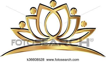 Gold Lotus Yoga People Logo Clip Art K36608528 Fotosearch