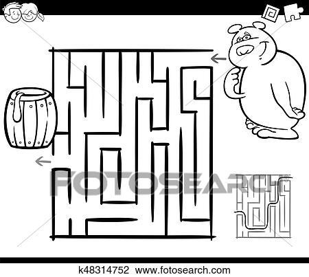 Clipart - laberinto, con, oso, colorido, página k48314752 - Buscar ...