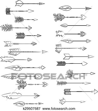 Clip Art - mano, dibujado, vector, flechas, collection., garabato ...