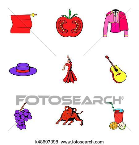 Pays espagne ic nes ensemble dessin anim style banque d 39 illustrations k48697398 fotosearch - Dessin espagne ...