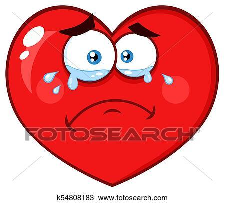 Pleurer Coeur Rouge Dessin Animé Emoji Figure Caractère à Expression Triste Clipart