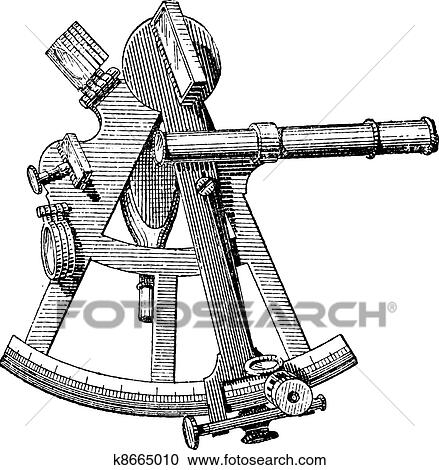 Sextant isolated on white, vintage engraving  Clipart