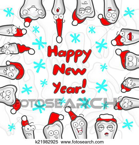 Clipart of Teeth. Happy New Year greeting card k21982925 - Search ...