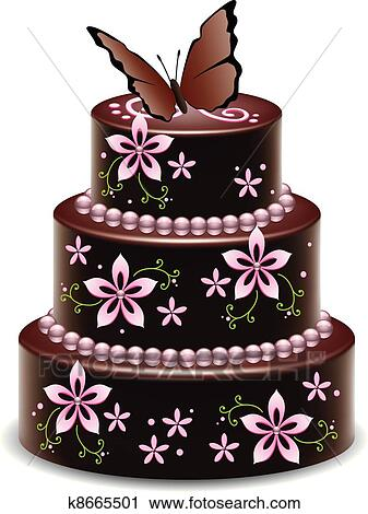 Admirable Vector Big Chocolate Cake With Flowers And Butterfly Clipart Personalised Birthday Cards Akebfashionlily Jamesorg