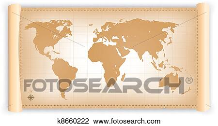 Clipart of vintage world map on parchment scroll k8660222 search clipart vintage world map on parchment scroll fotosearch search clip art illustration gumiabroncs Choice Image