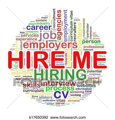 clip art of word tags circular wordcloud of hire me k17650392