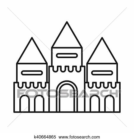 Stock Illustration Of Fairy Tale Castle Icon Outline Style