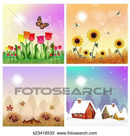 drawing of four seasons k23418533 search clipart illustration