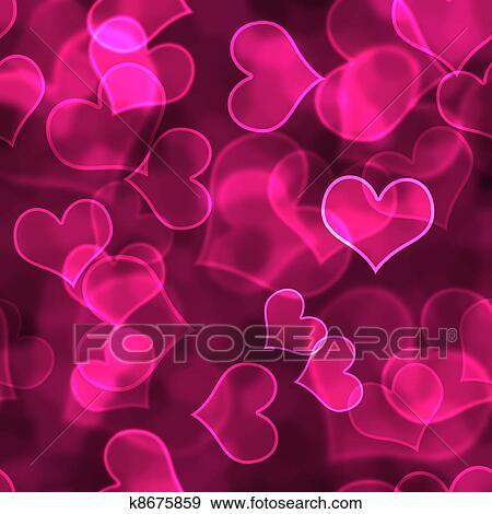 Bright Pink Hearts In Various Focus Bokeh Design On Dark Background