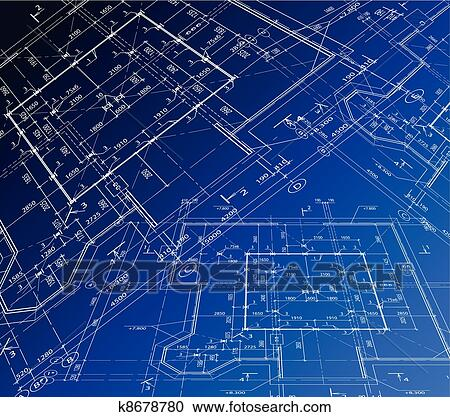 Clipart of House plan. Vector blueprint k8678780 - Search Clip Art ...