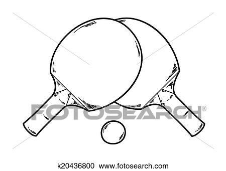 Clipart deux ping pong raquettes k20436800 - Dessin tennis de table ...