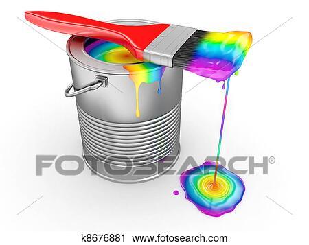 Clipart lattina vernice e pennello in colori - Arcobaleno a colori e stampa ...