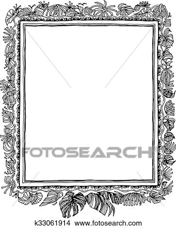 Clipart Of Leave Nature Frame Pen Hand Write K33061914 Search Clip