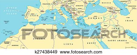 Mediterranean Political Map.Clip Art Of Mediterranean Basin Political Map K27438449 Search