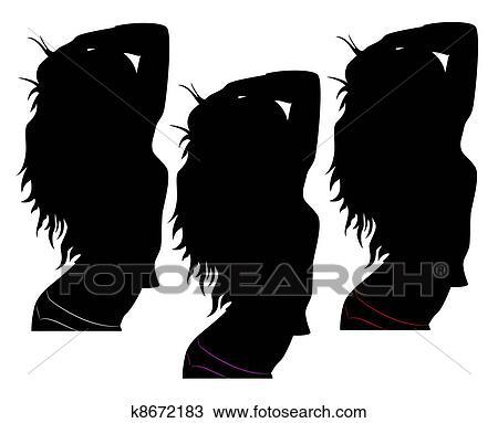 Dessin Noir Silhouette De A Fille Sexuel K8672183