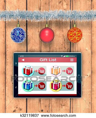 Online Shopping And Christmas Gifts Stock Illustration K32119837 Fotosearch