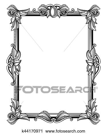 Victorian frame border Digital Frame Retro Antique Baroque Border Frame With Scroll Ornaments Vector Illustration Victorian Frame With Leaves Vintage Floral Baroque Frame Fotosearch Clipart Of Retro Antique Baroque Border Frame With Scroll Ornaments