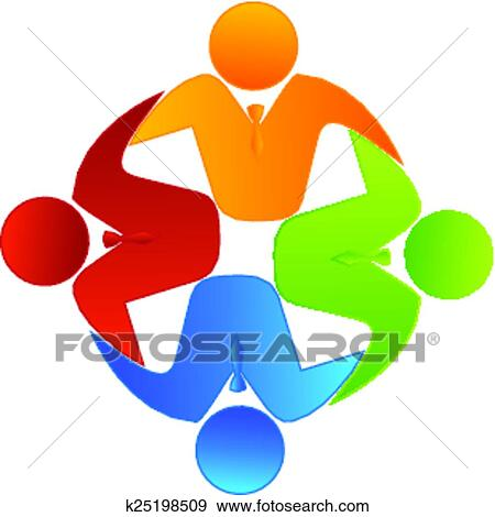Clip Art Of Vector Teamwork Business Logo K25198509 Search Clipart