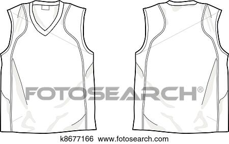White Sleeveless Shirt Template Front And Back Easy Colorable Vector