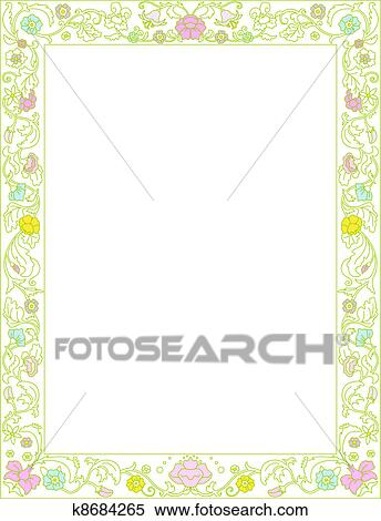 春 フレーム で 花 クリップアート切り張りイラスト絵画
