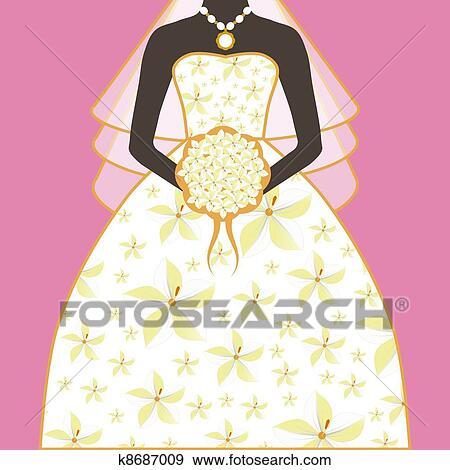 花嫁 結婚式 服 花の花束 イラスト K8687009 Fotosearch