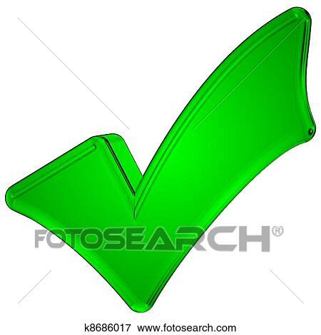 3d Green Check Mark Symbol Stock Photo