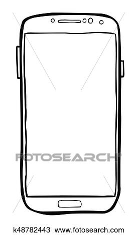 Cartoon Image Of Cellphone Icon Smartphone Pictogram Clipart K48782443 Fotosearch