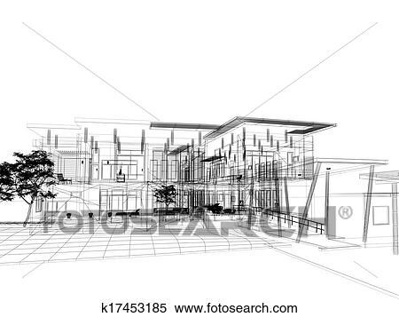 Croquis, conception, de, maison Banque d\'Illustrations k17453185