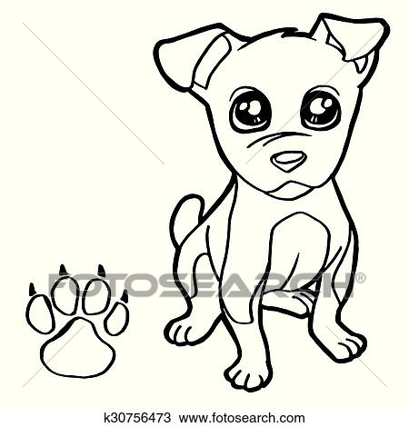 Dog With Paw Print Coloring Pages Clipart K30756473 Fotosearch
