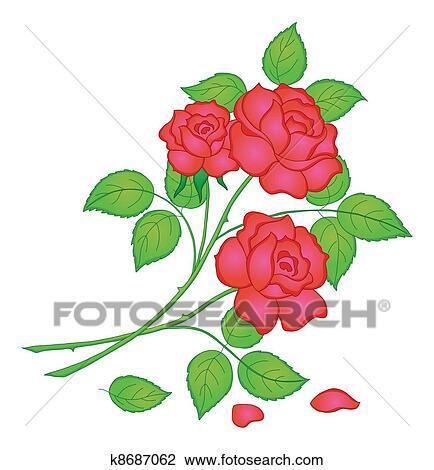 Fleurs Rose Rouge Dessin