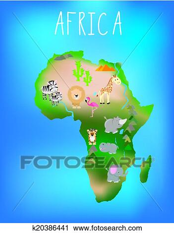 Map of Africa with cute wildlife and animals Clipart | k20386441