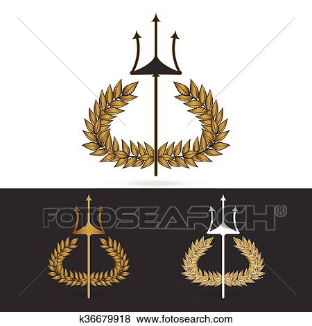Olive Branch With Trident Symbol Of Greek God Poseidon Clip Art