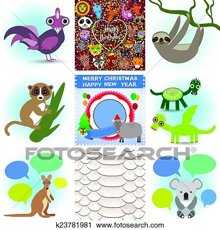 Clipart Of Set Funny Animals Greeting Cards Happy Birthday And