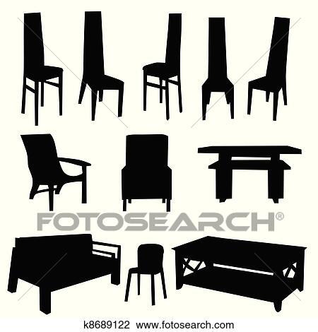 Tisch Und Stuhl Vektor Schwarz Clipart