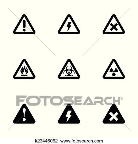 Vektor Schwarz Gefahr Symbol Satz Clipart K23446062 Fotosearch