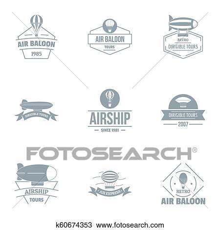 スケッチ - 飛行船, ロゴ, セット, 単純である, スタイル. Fotosearch