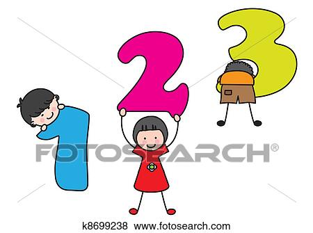 clip art of children playing numbers k8699238 search clipart rh fotosearch com clip art of numbers around the house clip art of numbers in 3d