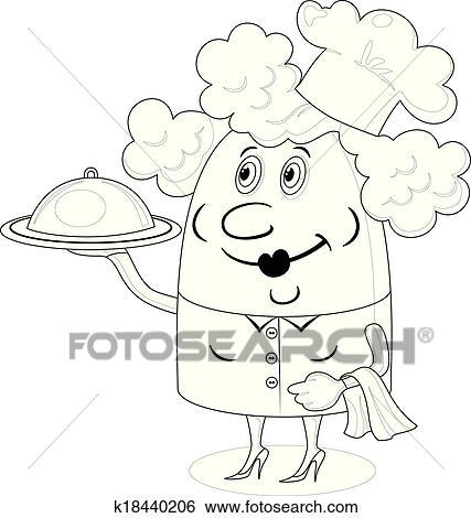 Clipart Cuisinier Femme à Plateau Contour K18440206